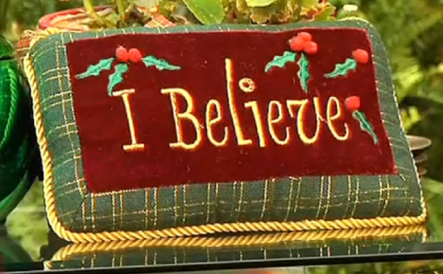 Embroidered 'I Believe' Christmas pillow